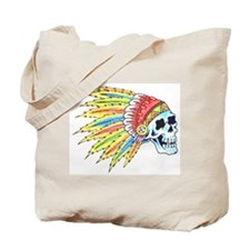 Indian Chief Skull Tattoo Tote Bag