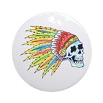 Indian Chief Skull Tattoo Ornament (Round)