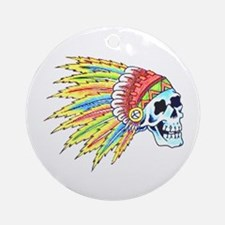 Indian Chief Skull Tattoo Ornament (Round)