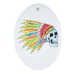 Indian Chief Skull Tattoo Oval Ornament