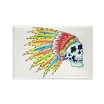 Indian Chief Skull Tattoo Rectangle Magnet