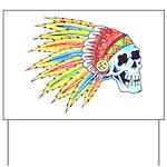 Indian Chief Skull Tattoo Yard Sign