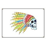 Indian Chief Skull Tattoo Banner
