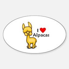 I Love Alpacas Oval Decal