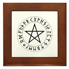 Rune Pentacle Shield Framed Tile