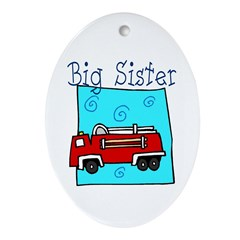 Firetruck Big Sister Oval Ornament