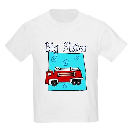 Firetruck Big Sister Kids Light T-Shirt