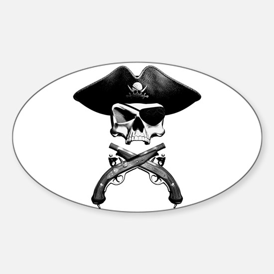 Jolly Roger Oval Decal