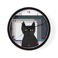 In the Way Kitty Wall Clock