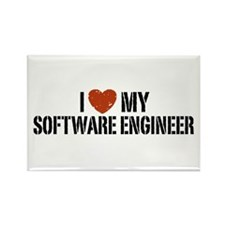 I Love My Software Engineer Rectangle Magnet
