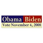 Obama-Biden: Vote November 4 bumper sticker