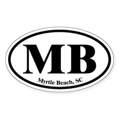 Myrtle Beach MB Euro Oval Oval Sticker