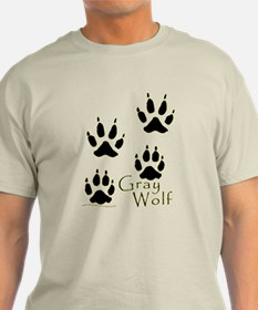 Gray Wolf Track Design T-Shirt