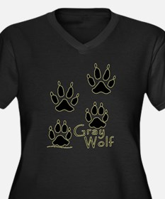 Gray Wolf Track Design Women's Plus Size V-Neck Da