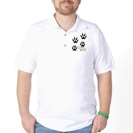 Gray Wolf Track Design Golf Shirt