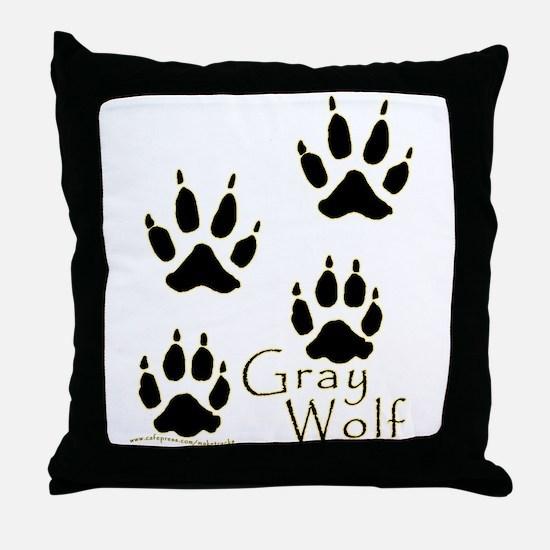 Gray Wolf Track Design Throw Pillow