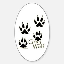 Gray Wolf Track Design Oval Decal