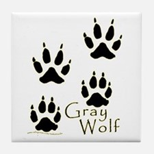 Gray Wolf Track Design Tile Coaster