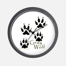Gray Wolf Track Design Wall Clock