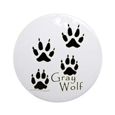 Gray Wolf Track Design Ornament (Round)
