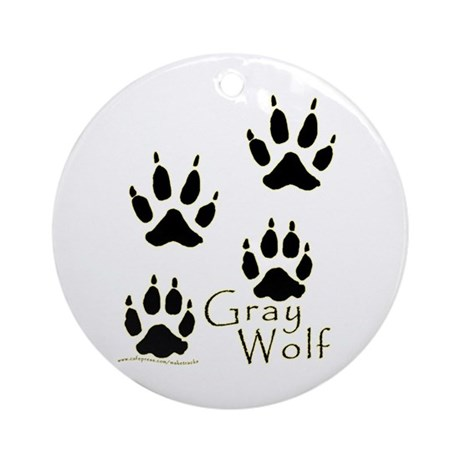 Gray Wolf Track Design Ornament (Round)
