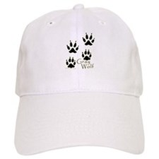 Gray Wolf Track Design Baseball Cap