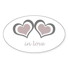 2 Hearts in Love Oval Decal