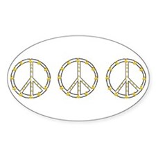 3 Rubber Ducky Peace Sign Oval Decal