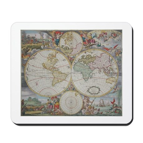 Dutch Map of the World,1745 Mousepad