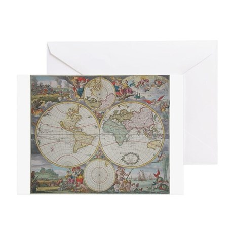 Dutch Map of the World,1745 Greeting Card