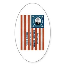 """""""Obama and Biden"""" Flag Oval Decal"""