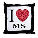 I Love MS Throw Pillow