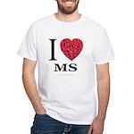 I Love MS White T-Shirt