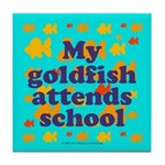 Goldfish attends school. Tile Coaster