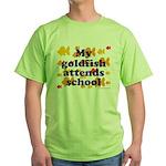 Goldfish attends school. Green T-Shirt