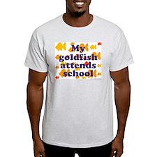 Goldfish attends school. Ash Grey T-Shirt