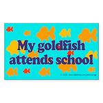Goldfish attends school. Rectangle Sticker