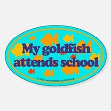 Goldfish attends school. Oval Decal