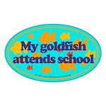 Goldfish attends school. Oval Sticker