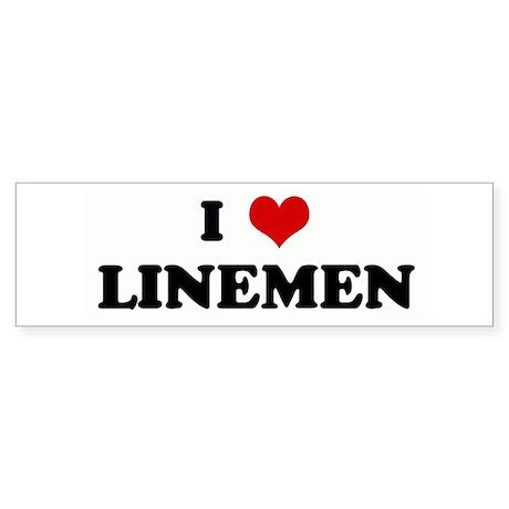 I Love LINEMEN Bumper Sticker