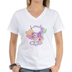 Loudi China Map Women's V-Neck T-Shirt
