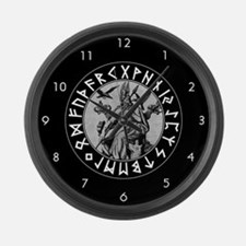 Odin Rune Shield Large Wall Clock