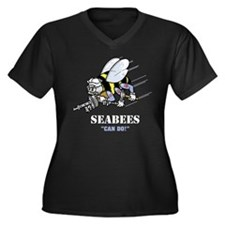 "SEABEES ""Can Do"" Women's Plus Size V-Neck Dark T-S"