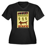 Weiner Dog Women's Plus Size V-Neck Dark T-Shirt