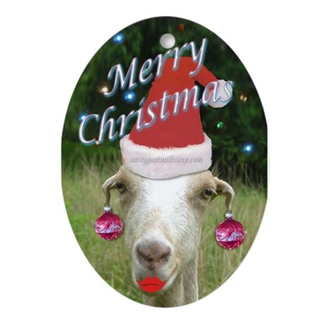 Ruby the Sassy Christmas Goat Ornament (Oval)