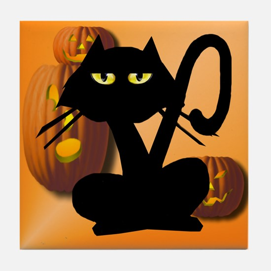 Plain Black Kitty Halloween Tile Coaster