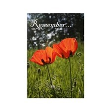 Twin Poppy Rectangle Magnet