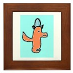 Birdie with Hat Framed Ceramic Tile (Rose & Bl