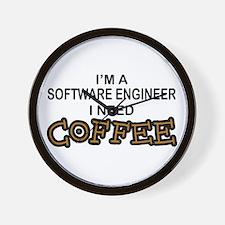 Software Engineer Need Coffee Wall Clock