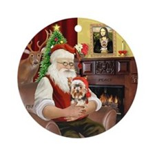 Santa's Yorkie with a Santa hat Ornament (Round)